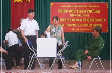 Tổ chức bốc thăm đất dịch vụ Phú Vinh Hoài Đức
